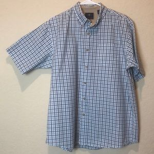 💜3/25 Wrangler blue plaid button down shirt L